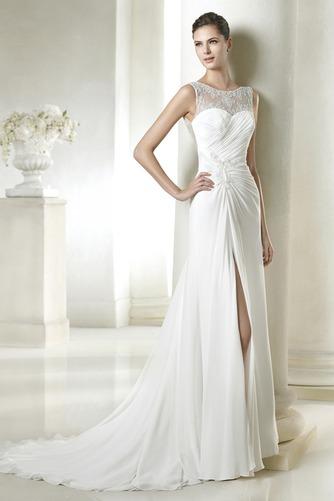 Vestido de novia Sencillo Gasa Apertura Frontal Verano Natural Cremallera - Página 1
