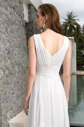 Vestido de novia Asimétrico Dobladillo Escote en V Corte-A Sin mangas - Página 4