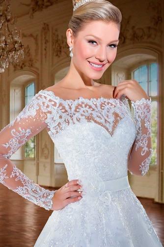 Vestido de novia Cremallera Manga larga Flores Sala Escote con Hombros caídos - Página 3