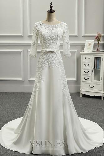 Vestido de novia Botón Playa Espalda Descubierta Corte Recto Cola Capilla - Página 1
