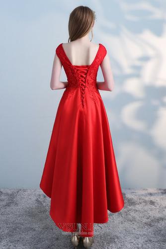 Vestido de cóctel Satén Cordón Abalorio Escote con Hombros caídos Moderno - Página 2
