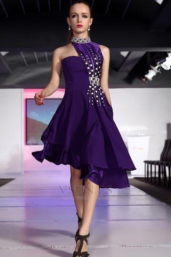 Vestido de fiesta Satén Natural Asimétrico Dobladillo Corpiño Acentuado con Perla - Página 2