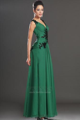 Vestidos de noche verde esmeralda Sin mangas Hasta el suelo Baja Escote en V - Página 5