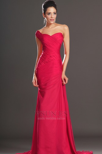 Vestido de noche rojos cereza Gasa Delgado largo Escote Asimètrico - Página 1