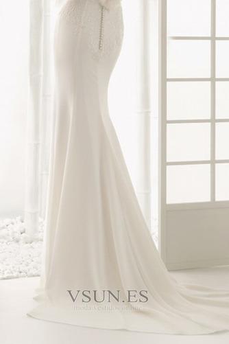 Vestido de novia Botón Escote con Hombros caídos Natural Verano Cola Barriba - Página 5