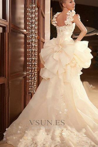 Vestido de novia Abalorio Sin mangas Tiras anchas Alto Bajo Cremallera - Página 4