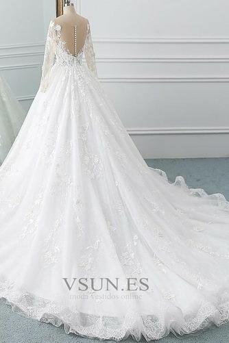 Vestido de novia Manga larga Corte-A Sala Pura espalda Cola Corte Otoño - Página 3