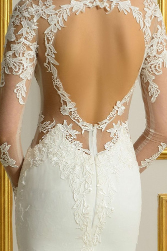 Vestido de novia Encaje Corte Recto Natural Espalda Descubierta Fuera de casa - Página 5