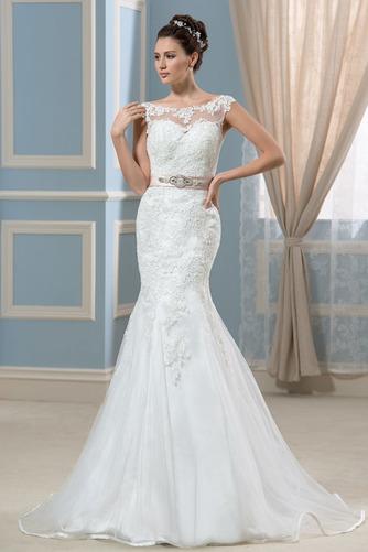 Vestido de novia Corte Recto Satén Arco Acentuado Cristal Espalda Descubierta - Página 1