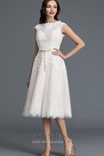 Vestido de novia Encaje Cremallera Verano Glamouroso Natural Falta - Página 4