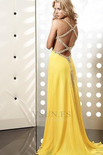 Vestido de fiesta primavera Natural Amarillo Corte Recto Escote en V - Página 2