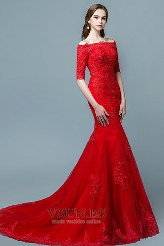 Vestido de novia Capa de encaje Cordón Abalorio Escote con Hombros caídos - Página 6