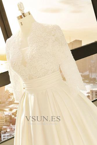 Vestido de novia Camiseta Escote en V Pera Encaje Espalda con ojo de cerradura - Página 4