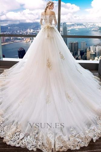 Vestido de novia Manga larga Cordón primavera largo Natural Corte-A - Página 2