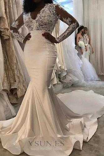 Vestido de novia Elegante Natural Tallas pequeñas Satén Cremallera Mangas Illusion - Página 1