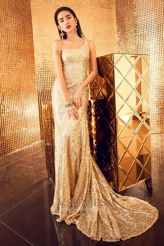 Vestido de fiesta largo Con lentejuelas Estrellado Corte Recto Espalda Descubierta - Página 1