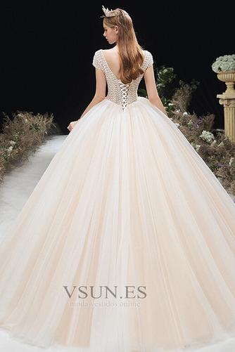 Vestido de novia Formal Cordón Corte-A Escote en V Capa Multi Cola Capilla - Página 2