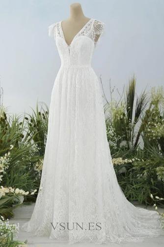 Vestido de novia Escote en V Natural Espalda Descubierta Encaje Hasta el suelo - Página 1