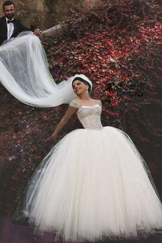 Vestido de novia Abalorio largo Manga corta tul Con velo Clasicos - Página 4
