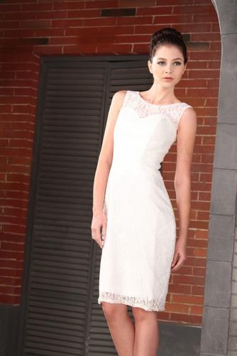 Vestido de novia Encaje Encaje Verano Hasta la Tibia Corte Recto Cremallera - Página 2