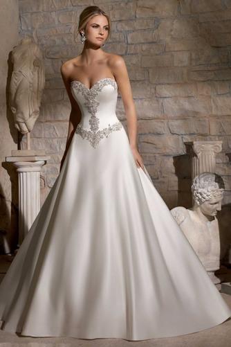 Vestido de novia Cinturón de cuentas largo Escote Corazón Cremallera - Página 1