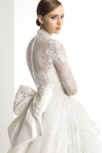 Vestido de novia Manga larga Escote con cuello Alto Fajas Asimètrico - Página 2