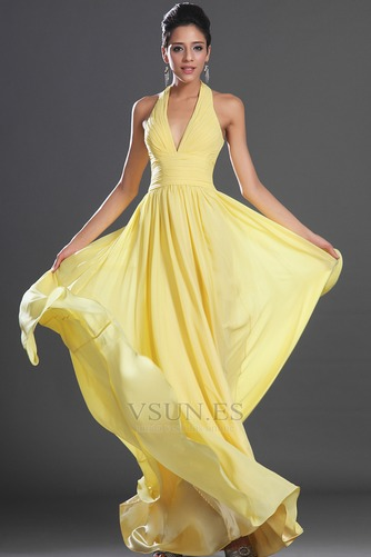 Vestido de noche primavera Espalda medio descubierto sexy Amarillo claro - Página 2