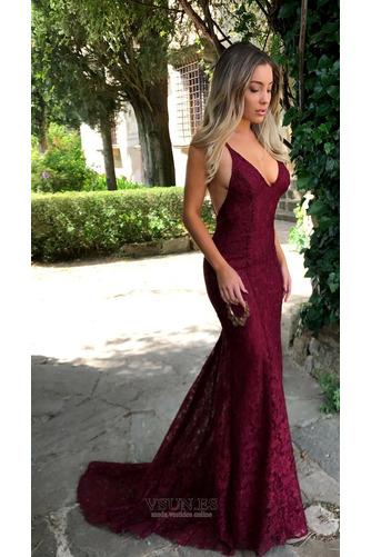 Vestido de noche Elegante largo Cordón Natural Falta Capa de encaje - Página 3