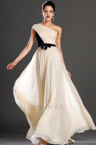 Vestido de noche Gasa Natural Corte-A Cintas Verano Asimétrico Estilo - Página 1