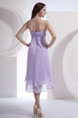 Vestido de dama de honor primavera Pera Escote de Tirantes Espaguetis Gasa Fajas - Página 5