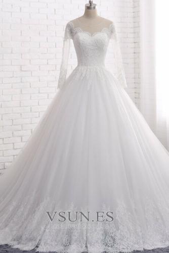 Vestido de novia Manga larga Joya Apliques Cremallera largo Corte-A - Página 1