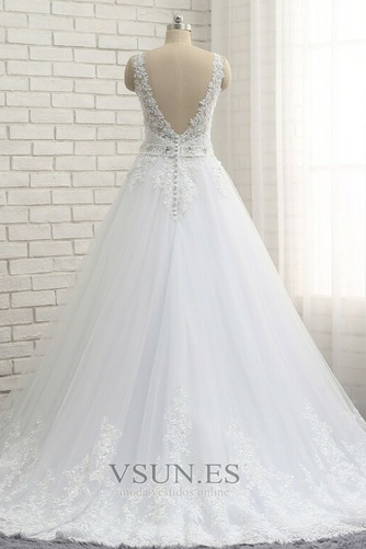 Vestido de novia Natural Escote en V Corte-A Falta Sin mangas largo - Página 2