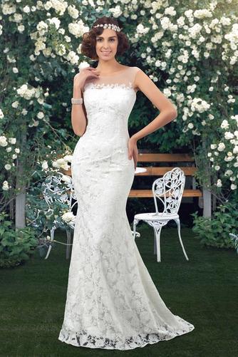 Vestido de novia Encaje Barco Natural Corte Recto Sin mangas Drapeado - Página 1