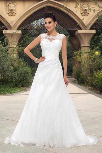 Vestido de novia largo Barco Elegante Blusa plisada Espalda Descubierta - Página 1