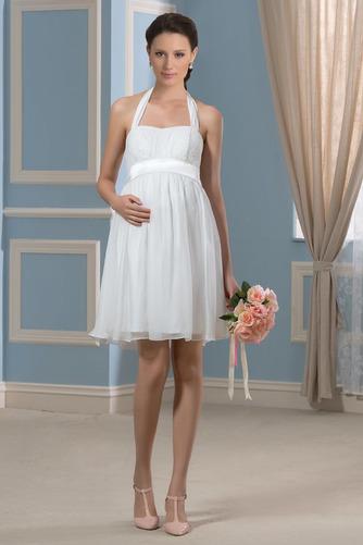 Vestido de novia Embarazadas Blusa plisada Escote halter Plisado Hasta la Rodilla - Página 1