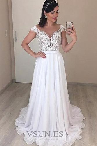 Vestido de novia Elegante Natural Sin mangas Cola Barriba Espalda Descubierta - Página 1