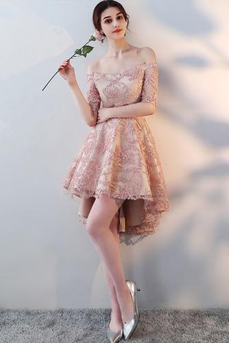 Vestido de dama de honor Encaje Asimétrico Dobladillo Sin mangas Drapeado Escote con Hombros caídos - Página 4