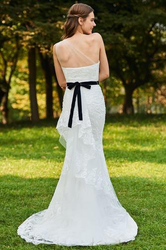 Vestido de novia Moderno Sin mangas Natural Un sólo hombro Lazos Encaje - Página 2