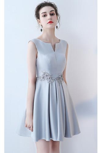 Vestido de dama de honor Cordón primavera Satén Un sólo hombro Sin mangas Bordado - Página 5