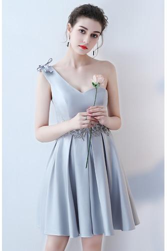 Vestido de dama de honor Cordón primavera Satén Un sólo hombro Sin mangas Bordado - Página 9
