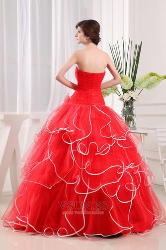 Vestido de fiesta Elegante Corte-A Organza Vasco Escalonado Sin mangas - Página 2