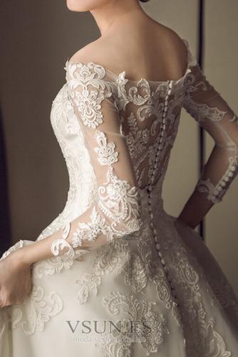Vestido de novia Escote con Hombros caídos Corte-A Verano Encaje Manga larga - Página 3
