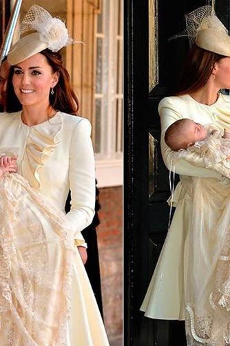 Vestido de Bautizo Otoño Natural Corte princesa Encaje Escote con cuello Alto - Página 1
