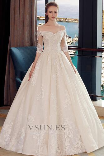 Vestido de novia Elegante Recatada Hasta el suelo Escote con Hombros caídos - Página 4