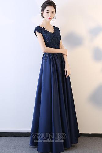 Vestido de fiesta Falta Corte-A Apliques Escote en V Natural Espalda Descubierta - Página 3