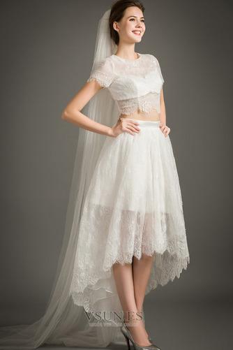 Vestido de novia Cremallera Moderno Asimétrico Dobladillo Camiseta Manga corta - Página 5