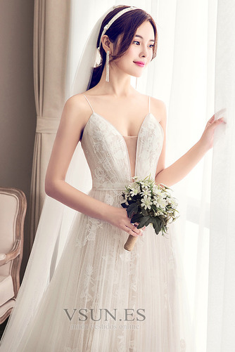 Vestido de novia Escote de Tirantes Espaguetis largo Iglesia Sin mangas - Página 5