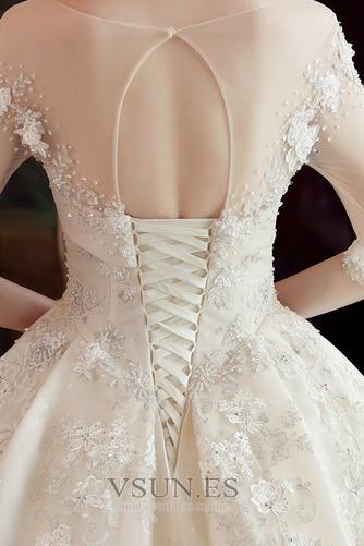 Vestido de novia Falta Satén Cordón Hasta el suelo Barco Bordado - Página 6