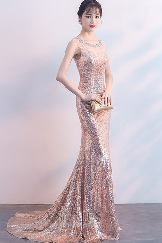 Vestido de fiesta Cremallera Natural Joya Corte Sirena Corpiño Acentuado con Perla - Página 4