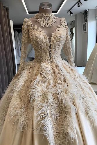 Vestido de novia Pura espalda Mangas Illusion Pera Escote con cuello Alto - Página 3